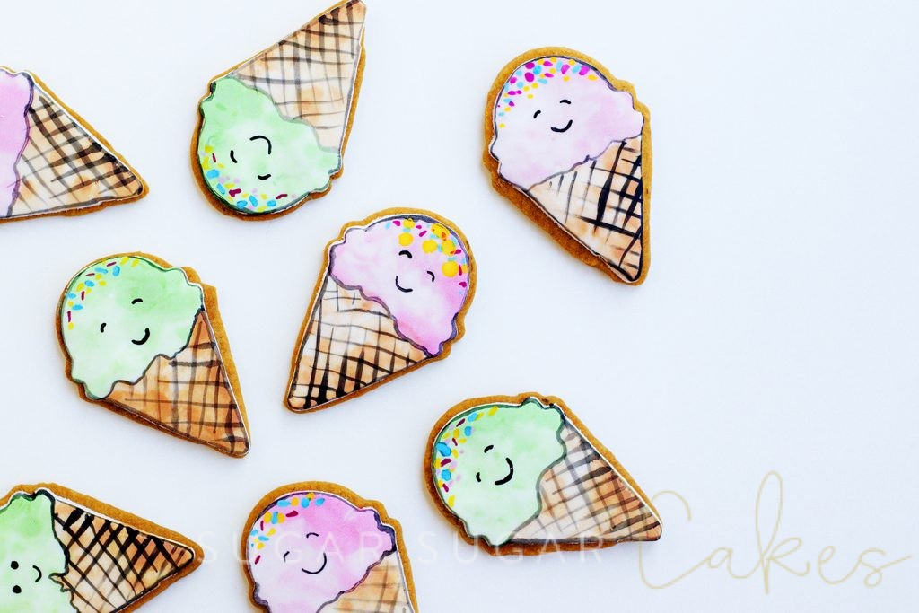 Watercolour Painted Ice Cream Cookies